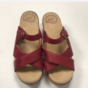 Dansko Red Leather Sandals Size 37